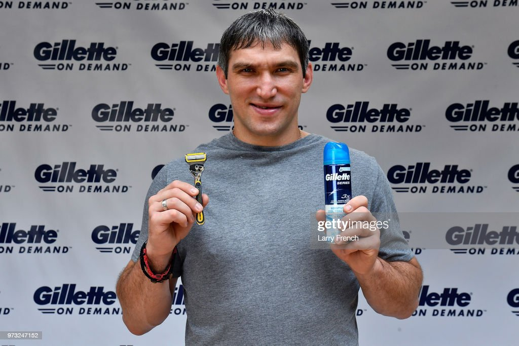 World Champion hockey star Alex Ovechkin bids farewell to his 'playoff beard' in favor of a clean-shaven look thanks to the Gillette Fusion ProShield Razor during an official Gillette Shave event on June 13, 2018 in Mclean, Virginia.