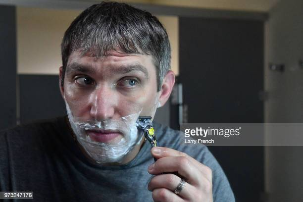 World Champion hockey star Alex Ovechkin shaves his 'playoff beard' with the Gillette Fusion ProShield Razor during an official Gillette Shave event...