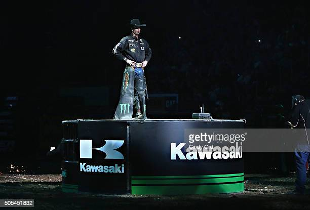 World Champion JB Mauney is introduced during PBR's 10th Anniversary Monster Energy Buck Off at the Garden at Madison Square Garden on January 17...