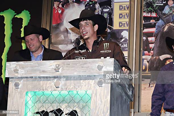 World Champion JB Mauney speaks during the 2016 Professional Bull Riders Denim Diamonds Party at Madison Square Garden on January 15 2016 in New York...