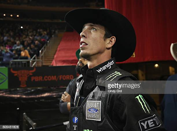 World Champion JB Mauney waits to ride during PBR's 10th Anniversary Monster Energy Buck Off at the Garden at Madison Square Garden on January 17...