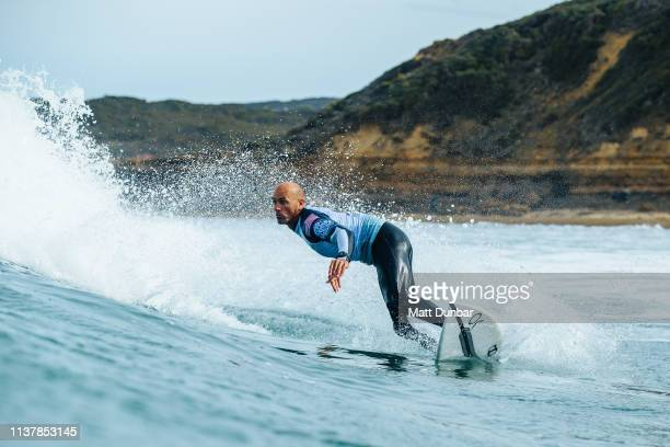 World Champion Kelly Slater of USA advances directly to Round 3 of the 2019 Rip Curl Pro Bells Beach after placing second in Heat 3 of Round 1 at...