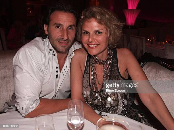 World champion of CestaPunta Eric Irastorza and French TV presenter Alexandra Bronkers dinning at Dore South Beach on April 9 2013 in Miami Beach...