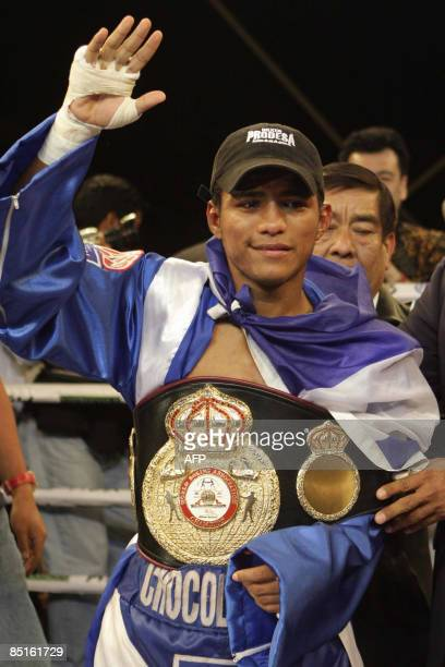 World champion of Strawweight, Nicaraguan Roman Gonzalez celebrates after to win over Mexican Francisco Rosas by unanimous decision on February 28,...