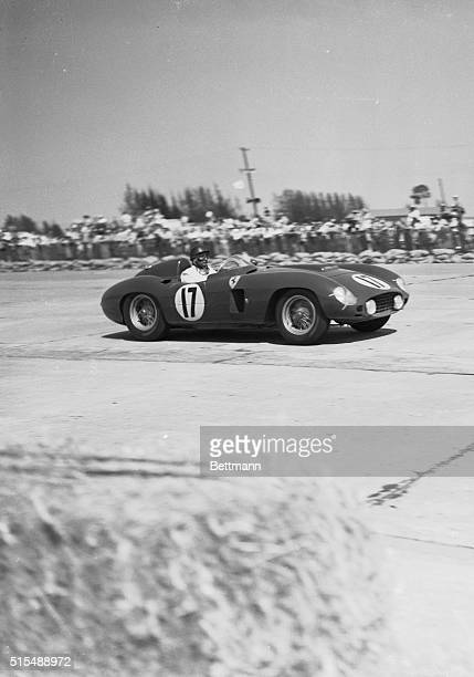 World champion racing driver Juan Manuel Fangio of Argentina drives his way to victory in the Grand Prix of Endurance race at Sebring