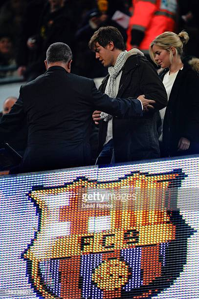 World Champion Sebastian Vettel is seen on the stands prior to the La Liga match between FC Barcelona and Valencia CF at Camp Nou stadium on February...