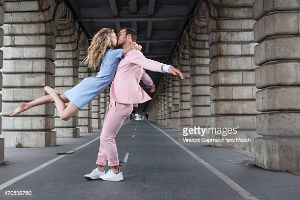 World champion skaters Gabriella Papadakis and Guillaume Cizeron are photographed for Paris Match on April 2 2015 in Paris France