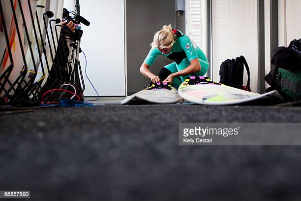 World Champion Stephanie Gilmore of Australia prepares her boards before Round 1 of the Rip Curl Pro at Bells Beach on April 8 2009 in Bells Beach...