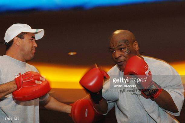 World Champion Trainer Jeff Fenech and Mike Tyson during Iron Mike Tyson Starts Training Camp at Aladdin/Planet Hollywood Resort and Casino at...