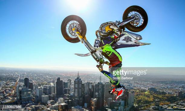 World Champion Trials bike rider Jack Field of Australia performs the highest backflip on a motorcycle ever recorded as he flips his motorbike upside...