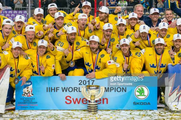 World Champions 2017 Team Sweden during the Ice Hockey World Championship Gold medal game between Canada and Sweden at Lanxess Arena in Cologne...