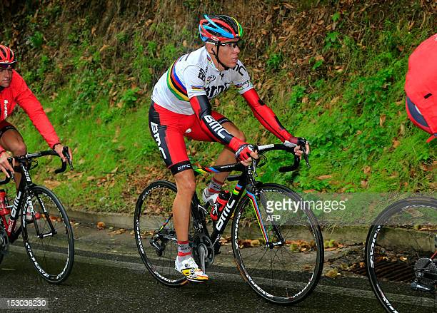 World champion's Belgian Philippe Gilbert of BMC Racing Team competes on September 29 during the 106th Giro di Lombardia a 251kms race from Bergamo...