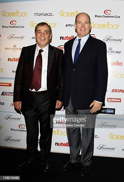 World Champions Club President Antonio Caliendo and HRH Prince Albert II of Monaco attend the Golden Foot Ceremony Awards on October 10 2011 in...