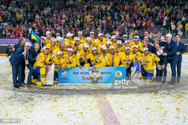 World Champions Team Sweden with the trophy after the Ice Hockey World Championship Gold medal game between Canada and Sweden at Lanxess Arena in...