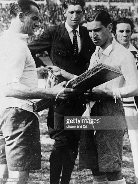 FIFA World Championship 1930 Uruguay final in Montevideo Uruguay vs Argentina 42 both team captains before the match fltr Jose Nasazzi referee Jan...