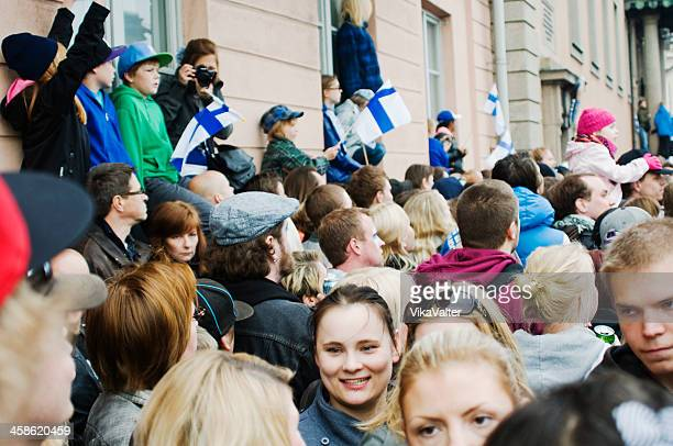 iihf world championship celebration - finnish flag stock photos and pictures