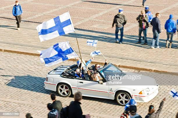 iihf world championship celebration - finsk flagga bildbanksfoton och bilder