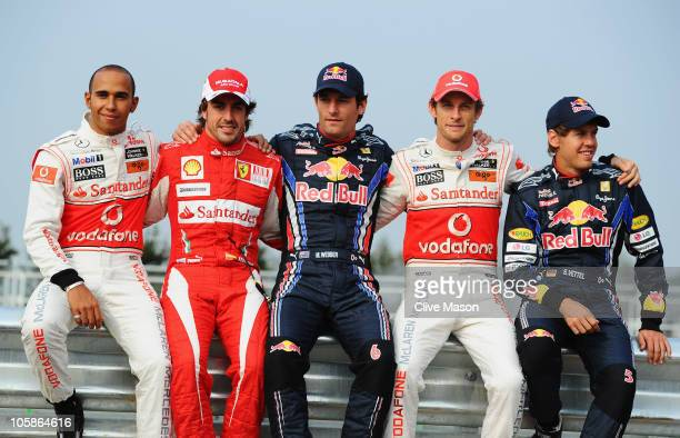 F1 World Championship contenders Lewis Hamilton of Great Britain and McLaren Mercedes Fernando Alonso of Spain and Ferrari Mark Webber of Australia...