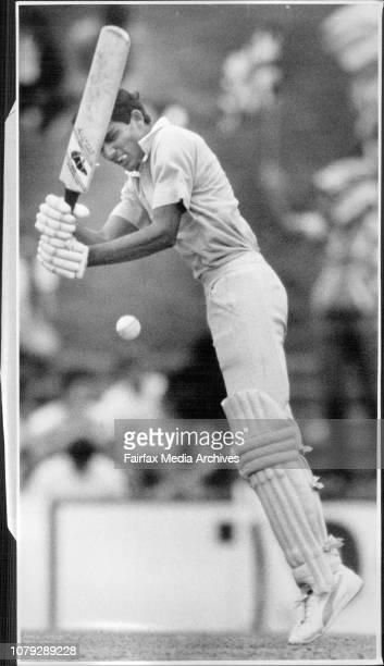 World Championship of Cricket - England V. India.Mohammed Azharuddin digs one out from Vic marks. February 26, 1985. .