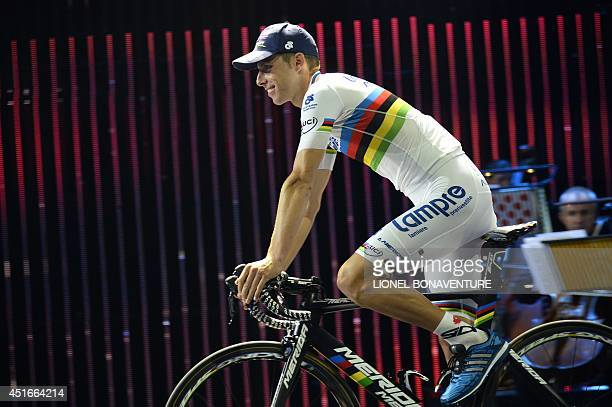 World Championships road race champion Portugal's Rui Alberto Costa arrives for the team presentation ceremony at the First Direct Arena in Leeds...