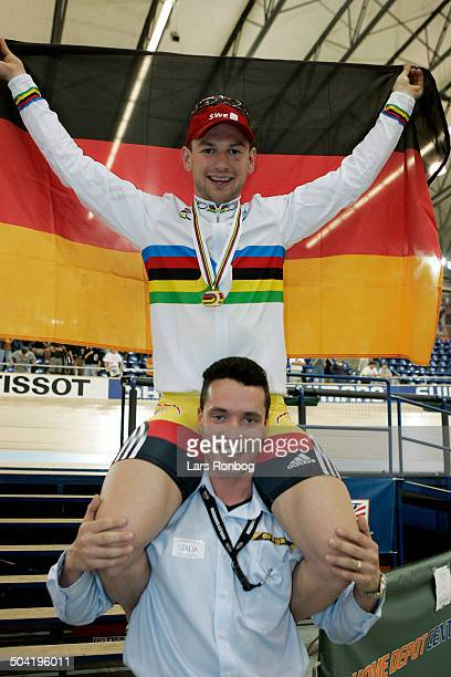 World Championships Track Los Angeles Day 4 Sprint MEN Rene Wolff Germany with former World Champion and Olympic Gold Medalist Jens Fiedler