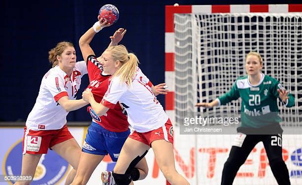 World Championships Womens Handball Serbia vs. Denmark - Line Anna Ryborg JØRGENSEN , Danmark / Denmark og Pernille Holst HOLMSGAARD, Danmark /...