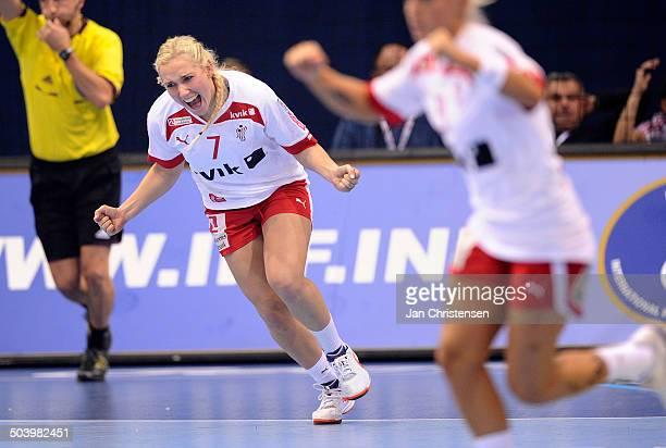 World Championships Womens Handball Serbia vs. Denmark - Maria FISKER, Danmark / Denmark jubler efter dansk scoring. © Jan Christensen, Frontzonesport