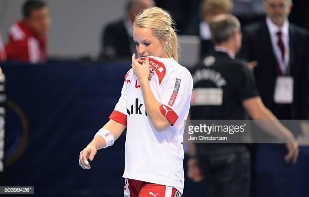 World Championships Womens Handball Serbia vs. Denmark - Skuffede danskere efter nederlag til Serbien - Jane SCHUMACHER, Danmark / Denmark. © Jan...