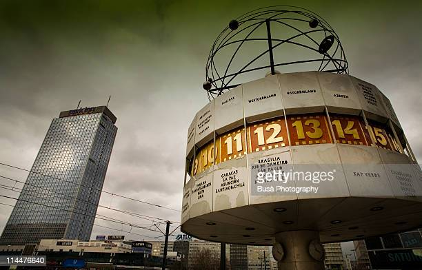 world clock, alexanderplatz, berlin - east germany stock pictures, royalty-free photos & images