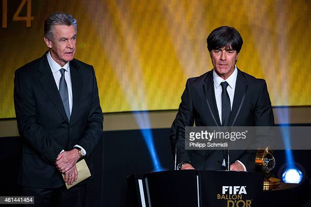 World Coach of the Year for Men's Football Award winner Joachim Loew head coach of the German national football team speaks next to Ottmar Hitzfeld...