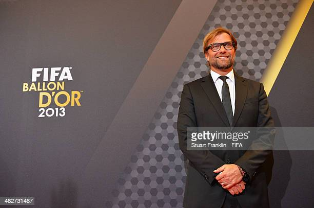 World Coach of the Year for Men's Football nominee and Borussia Dortmund manager Juergen Klopp of Germany arrives during the FIFA Ballon d'Or Gala...
