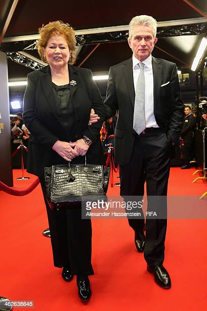 World Coach of the Year for Men's Football nominee and former manager of Bayern Munich Jupp Heynckes of Germany arrives with wife Iris Heynckes...