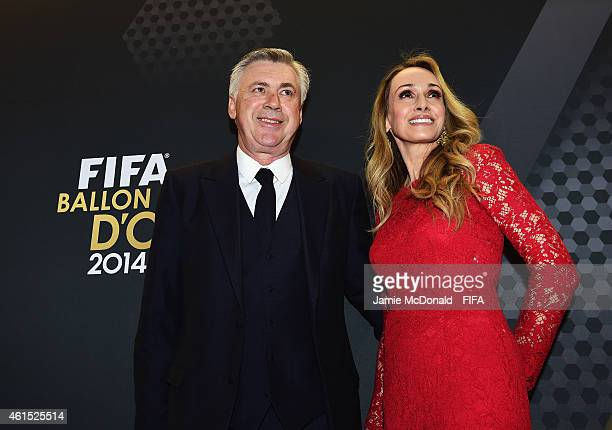 World Coach of the Year for Men's Football nominee Carlo Ancelotti of Italy and Real Madrid and wife Mariann Barrena McClay arrive at the FIFA Ballon...