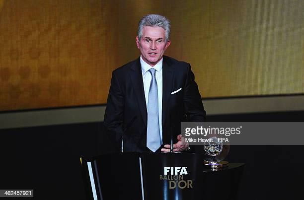 World Coach of the Year for Men's Football winner and former manager of Bayern Munich Jupp Heynckes collects his award during the FIFA Ballon d'Or...
