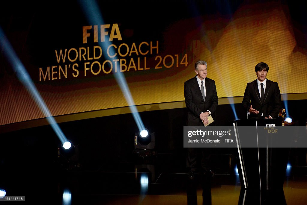 World Coach of the Year for Men's Football winner Joachim Loew of Germany receives his award from Ottmar Hitzfeld during the FIFA Ballon d'Or Gala 2014 at the Kongresshaus on January 12, 2015 in Zurich, Switzerland.