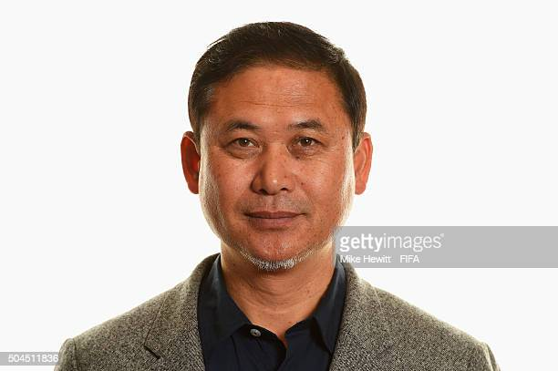 World Coach of the Year for Women's Football nominee and Japan Coach Norio Sasaki poses for a portrait prior to the FIFA Ballon d'Or Gala 2015 at the...