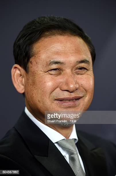 World Coach of the Year for Women's Football nominee and Japan Coach Norio Sasaki is interviewed after the FIFA Ballon d'Or Gala 2015 at the...