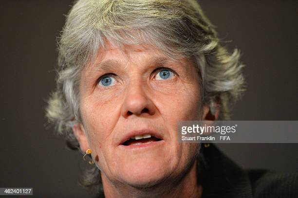 World Coach of the Year for Women's Football nominee and manager of the Sweden women's team Pia Sundhage attends a press conference prior to the FIFA...