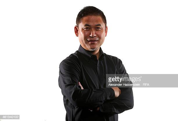World Coach of the Year for Women's Football nominee Norio Sasaki of Japan poses for a portrait prior to the FIFA Ballon d'Or Gala 2014 at the...