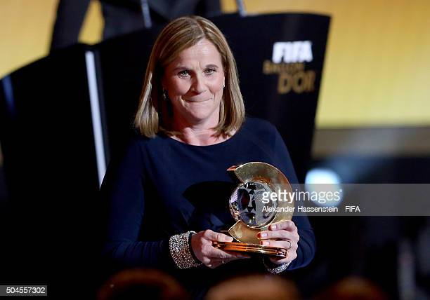 World Coach of the Year for Women's Football winner and United States Coach Jill Ellis of USA receives her award during the FIFA Ballon d'Or Gala...