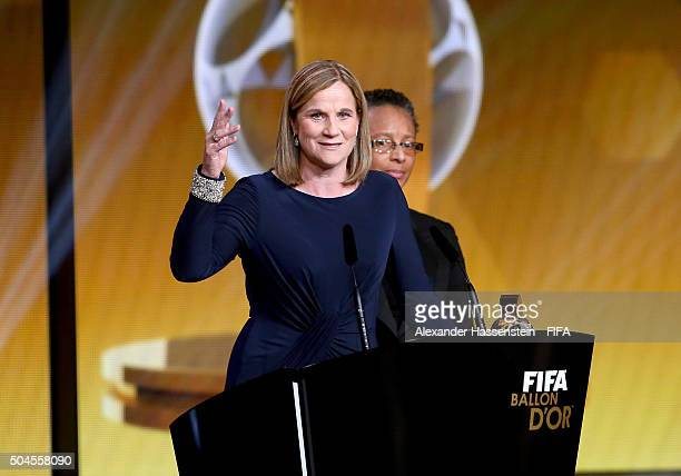 World Coach of the Year for Women's Football winner and United States Coach Jill Ellis of USA talks on stage during the FIFA Ballon d'Or Gala 2015 at...
