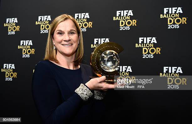 World Coach of the Year for Women's Football winner and United States Coach Jill Ellis of USA poses with her award after the FIFA Ballon d'Or Gala...