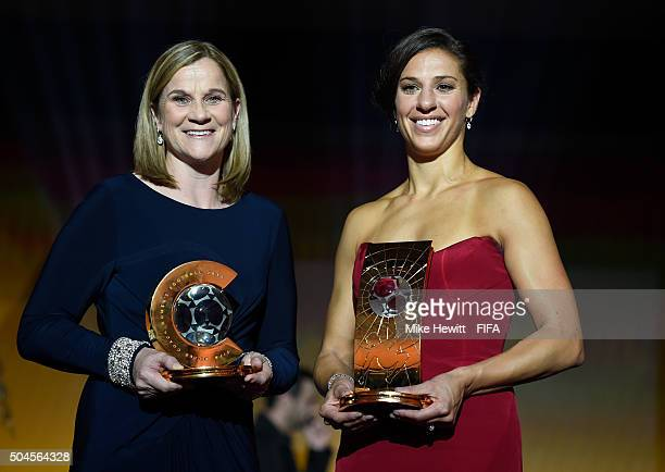 World Coach of the Year for Women's Football winner and United States Coach Jill Ellis of USA poses with FIFA Women's World Player of the Year winner...