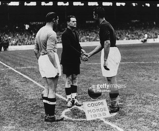 World Cup 1938 Final Paris France 19th June Italy 4 v Hungary 2 Italian captain Giuseppe Meazza meets Hungarian captain Sarosi before the match
