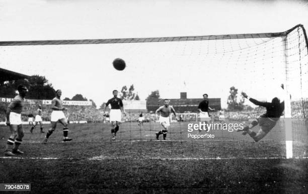 World Cup 1938 Final Paris France 19th June Italy 4 v Hungary 2 Titkos score Hungary's first goal in the World Cup Final