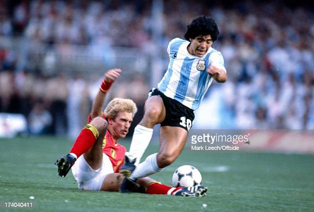 World Cup 1982 Argentina v Belgium Diego Maradona is tackled by Ludo Coeck