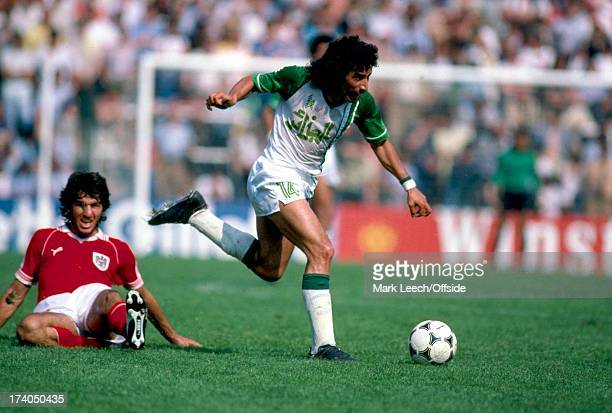 World Cup 1982 Spain Algeria v Austria Djamel Zidane brings the ball away from the tackle