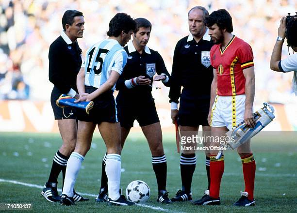 World Cup 1982 Spain Argentina v Belgium Pasarella and Gerets stand with the referee for the coin toss