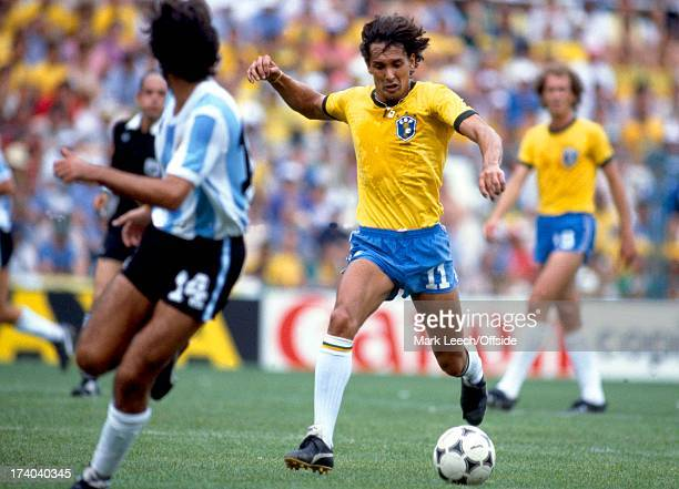 World Cup 1982 Spain Argentina v Brazil Eder brings the ball forward