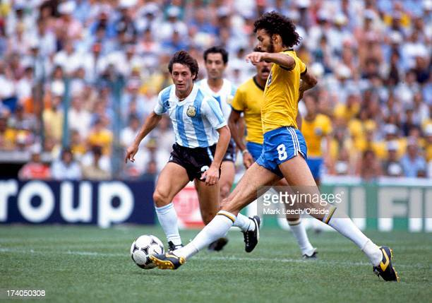 World Cup 1982 Spain Argentina v Brazil Socrates on the ball